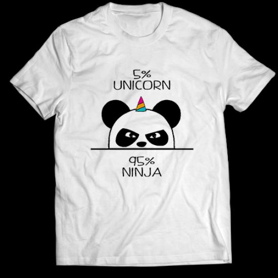 Тениска с щампа 5% Unicorn 95% Ninja