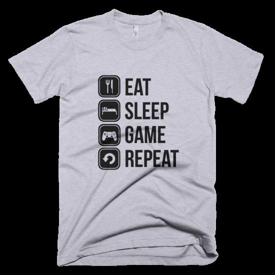 Тениска с щампа Eat Sleep Game Repeat
