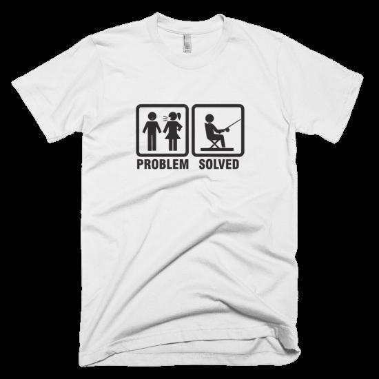 Тениска с щампа Problem Solved Fishing