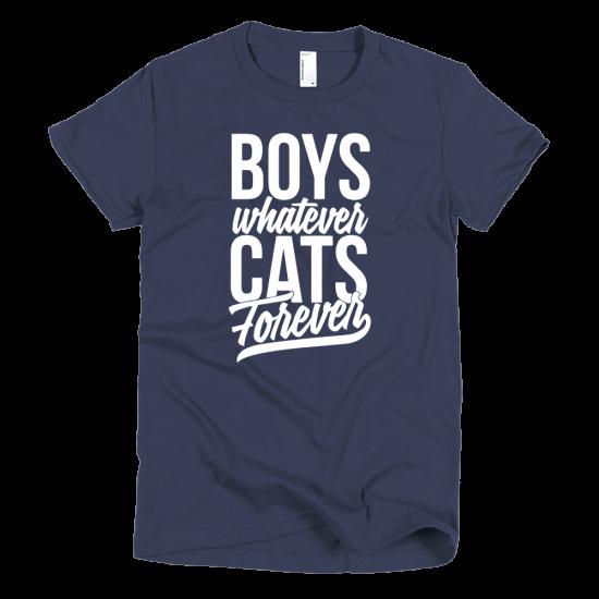 Тениска с щампа Boys whatever Cats Forever