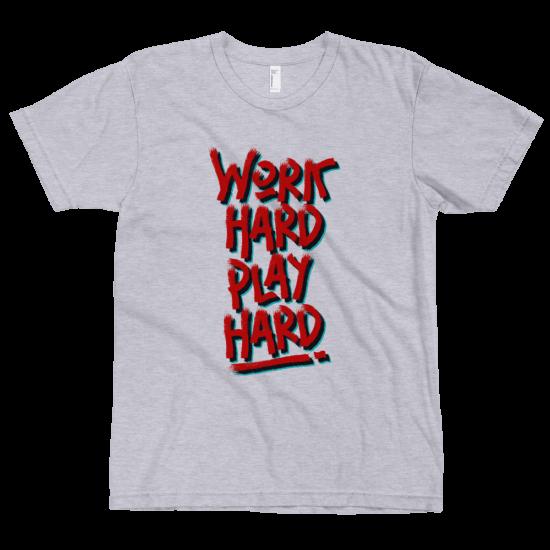 Тениска с щампа Work Hard Play Hard