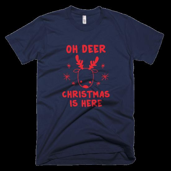 Тениска с щампа Oh Deer Christmas is here