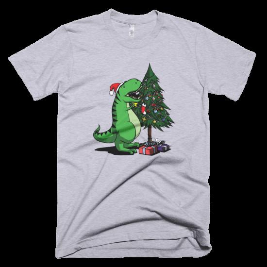 Тениска с щампа T-Rex Christmas