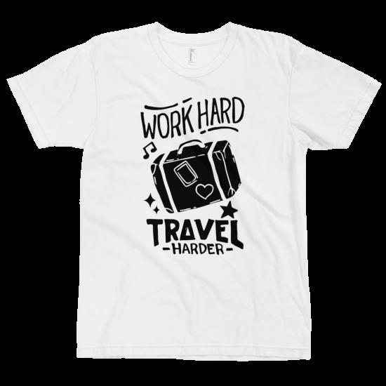Тениска с щампа Work Hard Travel Harder