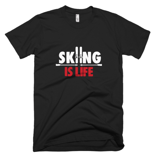 Тениска с щампа Skiing is Life