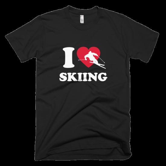 Тениска с щампа I love Skiing