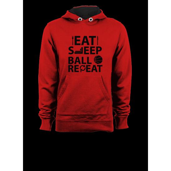 Мъжки суичър с щампа  EAT SLEEP BALL REPEAT