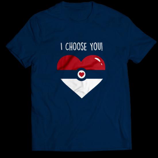 Mъжкa тениска с щампа I CHOOSE YOU HEART
