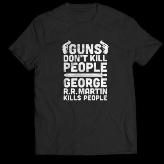 Mъжкa тениска с щампа GUNS DONT KILL PEOPLE