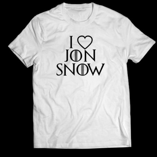 Mъжкa тениска с щампа I LOVE JON SNOW