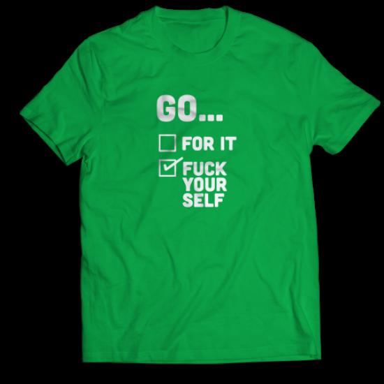 Тениска с щампа FUCK YOURSELF