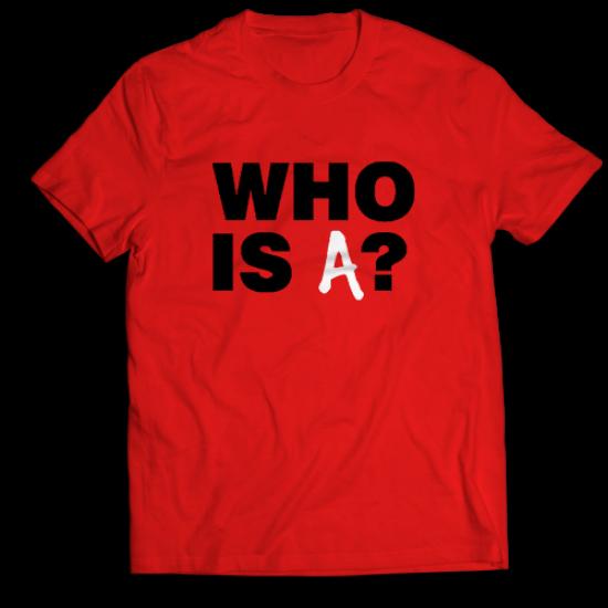 Мъжкa тениска с щампа  WHO IS A?