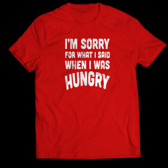 Тениска с щампа HUNGRY