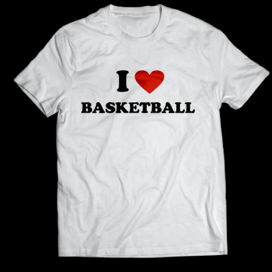 Тениска с щампа I LOVE BASKETBALL