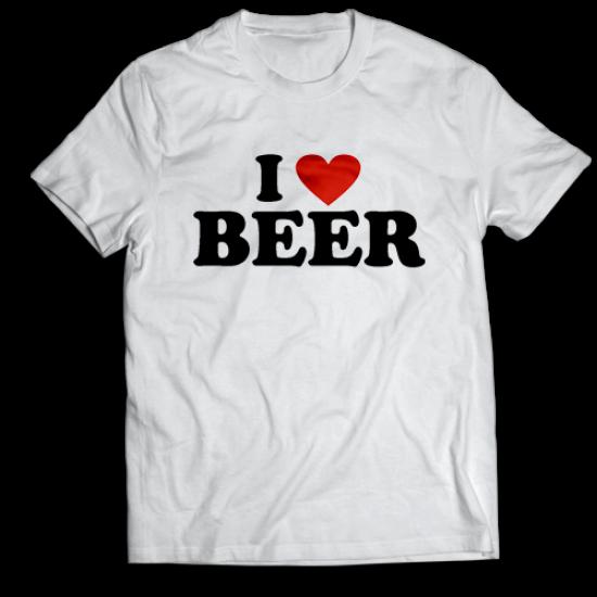 Тениска с щампа I LOVE BEER