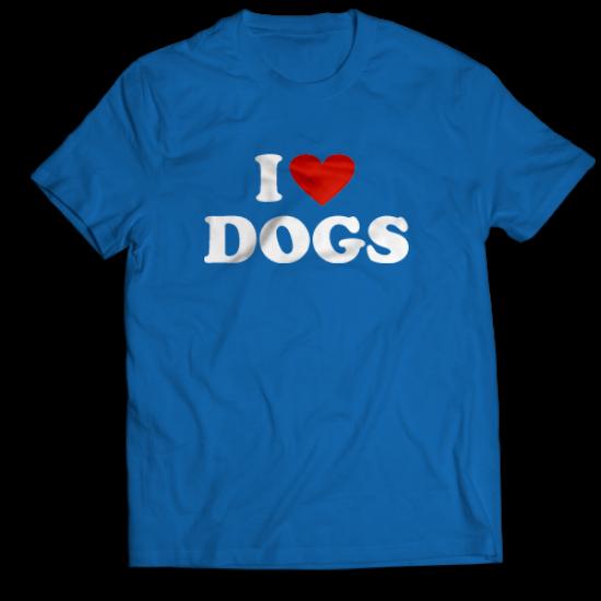 Тениска с щампа I LOVE DOGS