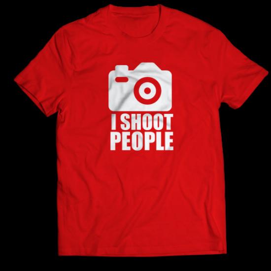 Тениска с щампа I SHOOT PEOPLE