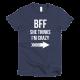 Тениска с щампа BFF I think she's crazy