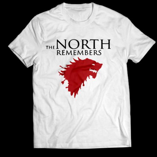 Мъжкa тениска с щампа THE NORTH REMEMBERS